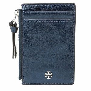🆕 Tory Burch Crinkle Metallic Zip Card Case